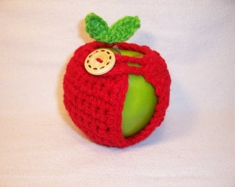 Handmade Crocheted Apple Cozy - Crochet Apple Cozy in Red Cherry Color