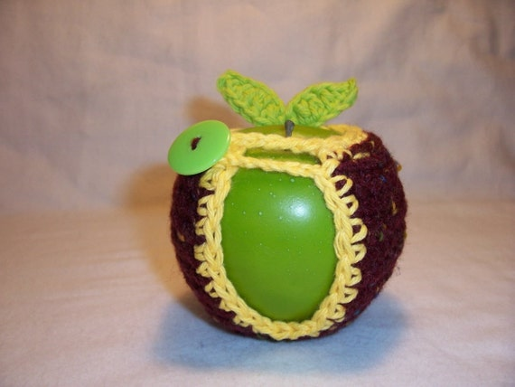 Handmade Crocheted Apple Cozy in Claret Fleck with Yellow Trim