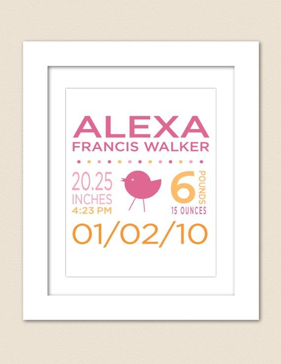 Digital Printable Custom Birth Announcement Print for Girl