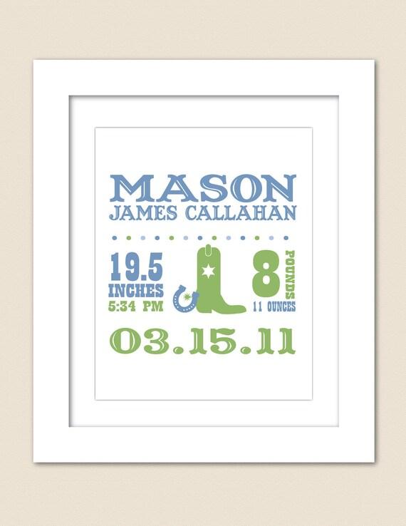Digital Printable Custom Western Birth Announcement Print