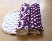 SALE - 40% OFF  Boutique Style Modern Baby Burp Cloths - Purple Paisley and Polka Dot, set of 2