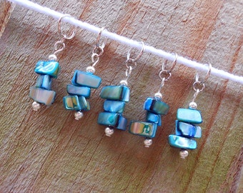 Blue Stone Knitting Stitch Markers -- Set of 5