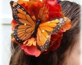 Orange Butterfly Floral Harvest Headband
