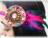 Sparkle Pink Beaded Bohemian Feather Headband - magenta, teal, turquoise, blue