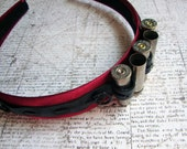 Silver Bullet Black Leather Red Steampunk Headband