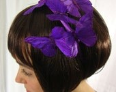 Dark Purple Butterfly Headband - violet, fairy, love, romance, woodland