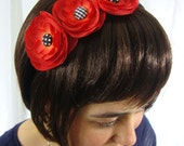 Red Flower Headband with Black Polka Dot and Plaid Details