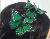 Green Butterfly Headband - forest, fairy, woodland