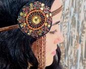 Rustic Beaded Bohemian Headband - gypsy, hippie, warrior, brown, rust