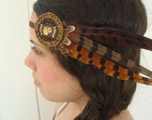 Tribal Pheasant Feather Beaded Bohemian Headband - gypsy, hippie, warrior, black, rust, brown