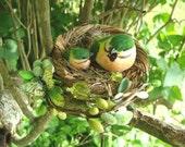 Green Garden Spring Bird Nest Floral Barrette