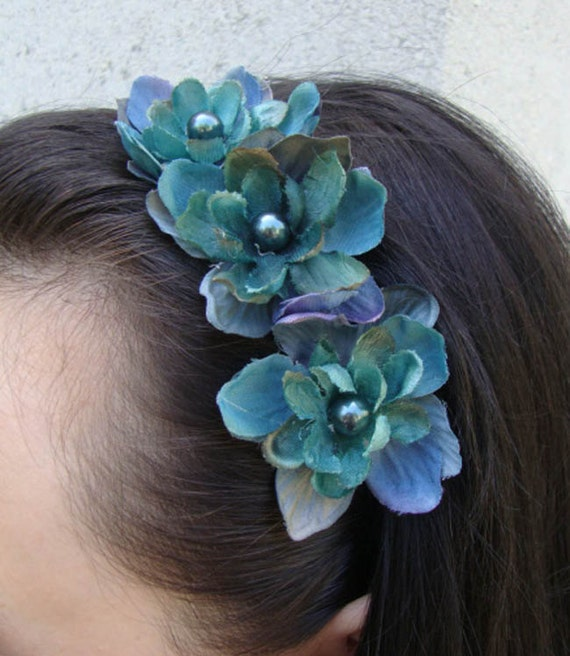 Deep Teal and Purple Flower Headband with Pearl Center