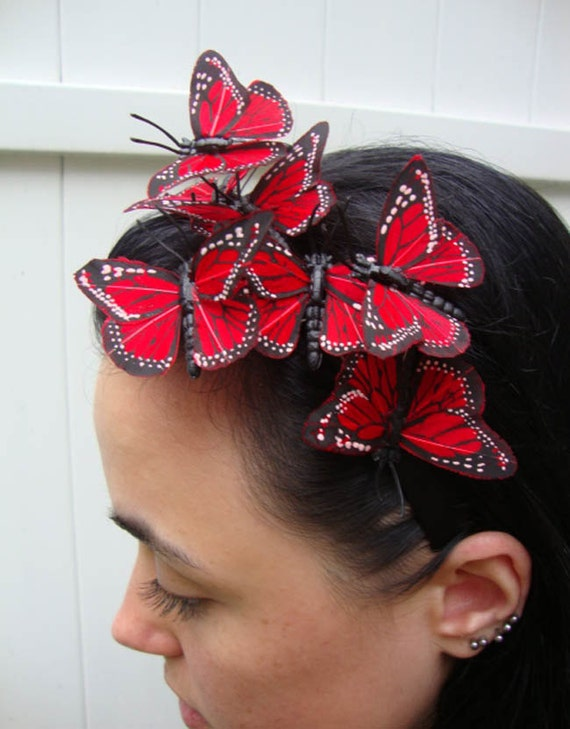 Red Butterfly Headband - rouge, love, romance, kiss