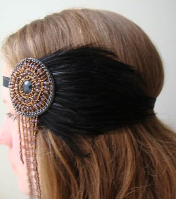 Black Raven Bohemian Feather Beaded Headband