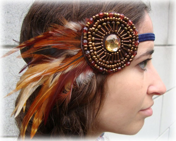 Brown, Rust and Navy Beaded Bohemian Feather Headband