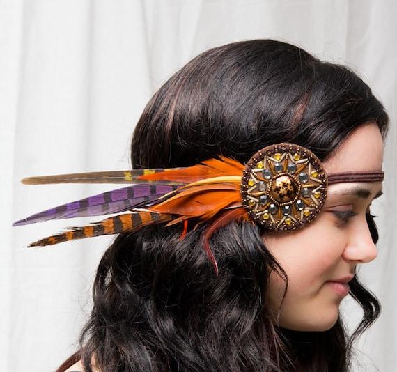 Tribal Beaded Bohemian Feather Headband - gypsy, hippie, warrior, black, rust, orange