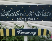 NAUTICAL Wedding Signs Navy & Yellow WEDDING SIGNS Personalized 4pc Set Can Be custom ordered in your Wedding Colors and Wording