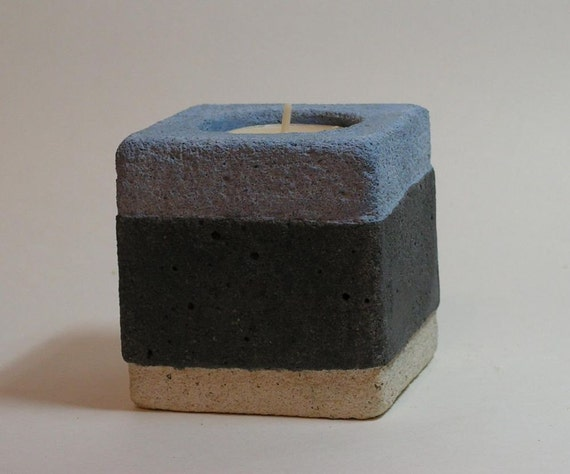 Gray Belt Concrete Candle Holder от roughfusion на Etsy