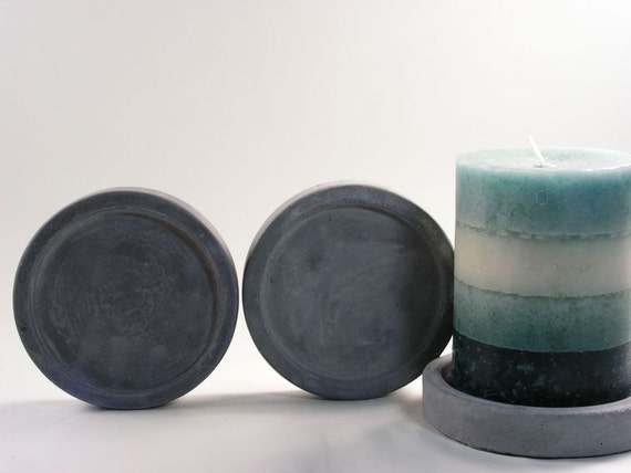 Round Concrete Pillar Candle Plate - set of 3