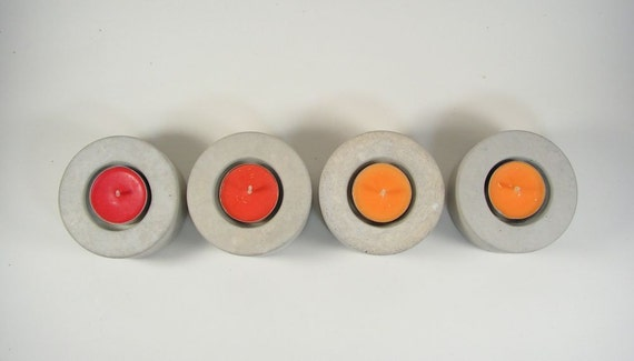 No.2 Round Concrete Tea Light Candle Holder - set of 4 - natural concrete