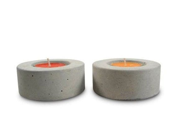 No.1 Round Concrete Tea Light Candle Holder - set of 4