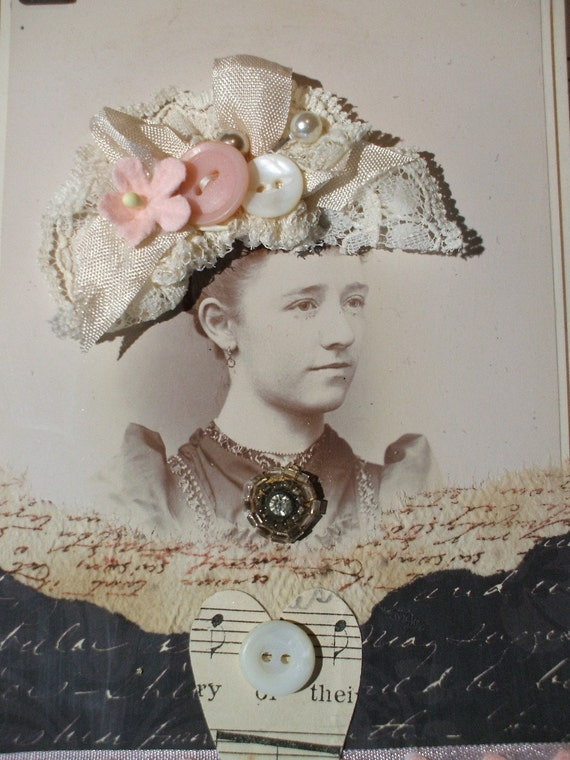 Altered Art Cabinet Card Photo Assemblage -Miss Rosemary- Pink