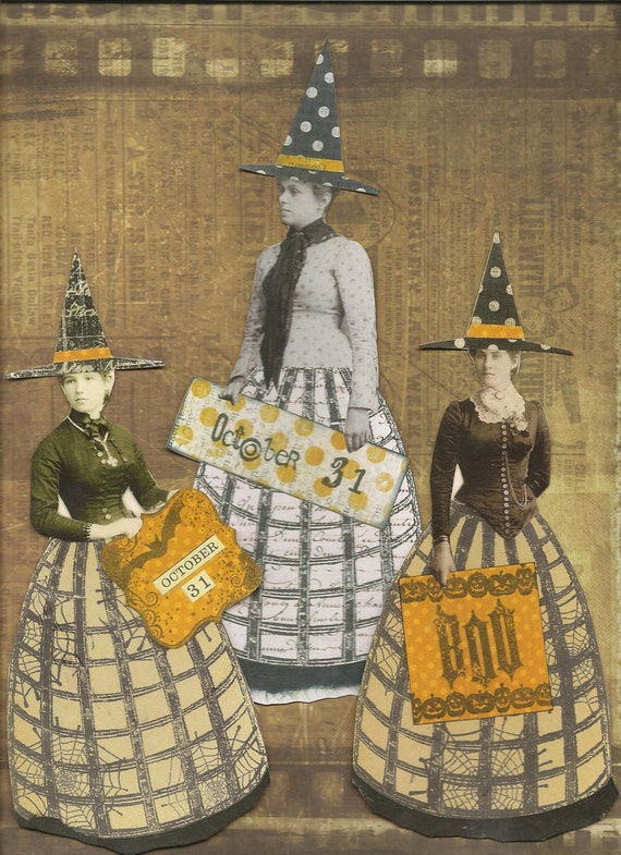 SALE-Halloween Witches Altered Art Mixed Media Paper Set of 3