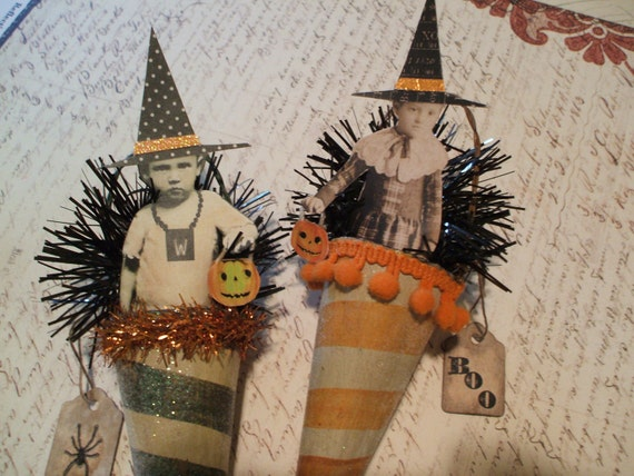 2 HALLOWEEN Paper Mache Cone Witch Ornaments Altered Art