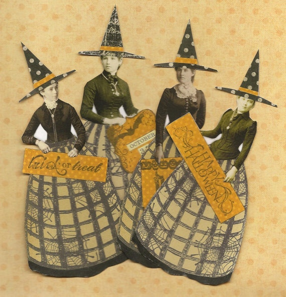 Halloween Witches Altered Art Mixed Media Paper Doll Ornaments Set of 4