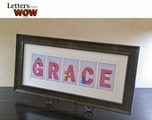 Custom Girls Name 3 to 5 Letters Framed (BLUE & Pink Background)