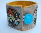 Fabric and felt cuff bracelet