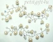 H02 Swarovski Crystal and Pearl Bridal Hair Vine / Tiara