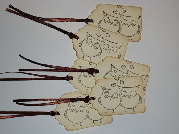 Love Owls with Hearts Handmade Gift Tags 6 Pieces