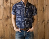 Vintage Boats All Over Print Shirt in Navy Blue