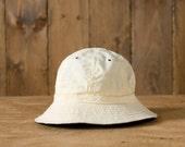 Vintage Seersucker Bucket Hat in Yellow/White Stripes