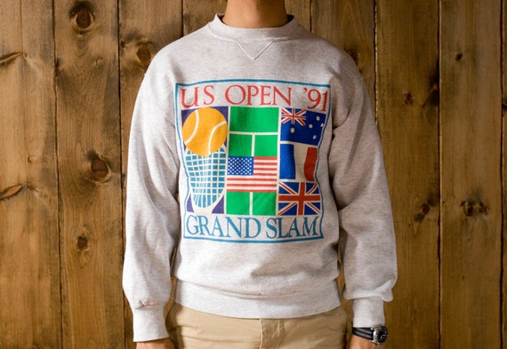 Vintage US Open 1991 Grand Slam Crewneck Sweatshirt in Heather Gray