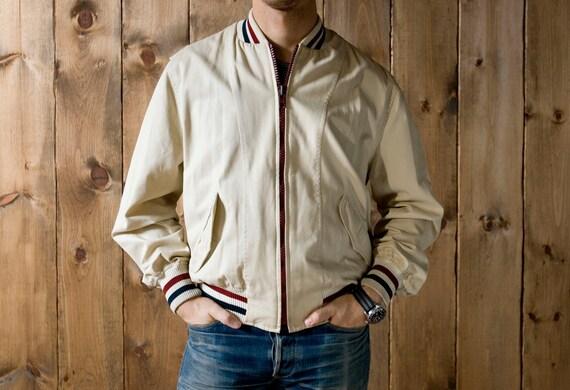 """Vintage Gant """"The Rugger"""" Baseball Bomber Jacket in White Cotton"""