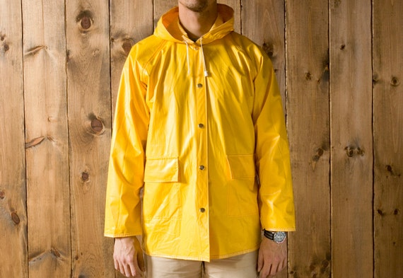 Vintage Reversible Yellow Rain Slicker Jacket