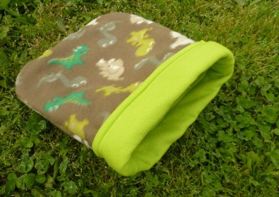 Fleece Cozy Sack for Guinea Pigs and Small Animals -- Green Dinosaurs (M)