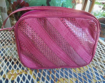 80s OLEG CASSINI--Pink Python Pochette--Mini Bag--Stripes