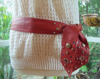 80s JEWELED LEATHER BELT--Red Sash--Multicolor Stones--Made in Brazil