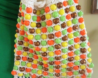 60s MADE IN ITALY--Citrus Brights and Bronze--Beaded Drawstring Bag--Textured Beads