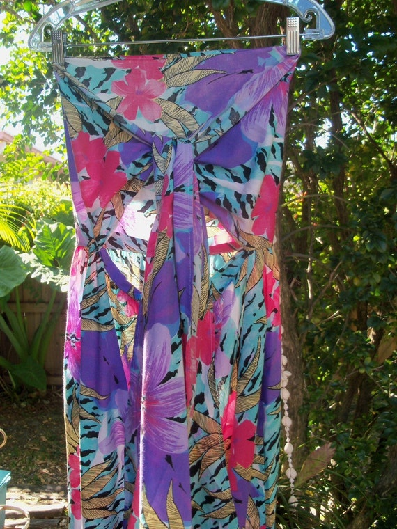 80s Avon Lady--Tiger in the Flowers--Tropical--Jumpsuit--Bandeau Top