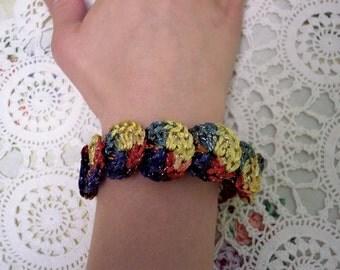 Primary Colors SPARKLE Discs CROCHETED Bracelet