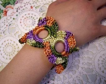 SALE Petal CIRCLE Sparkle CROCHET Bracelet Cuff