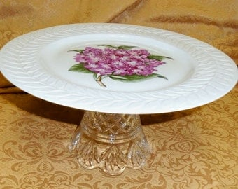 UPCYCLED large Footed CAKE Stand Haviland LILAC pattern