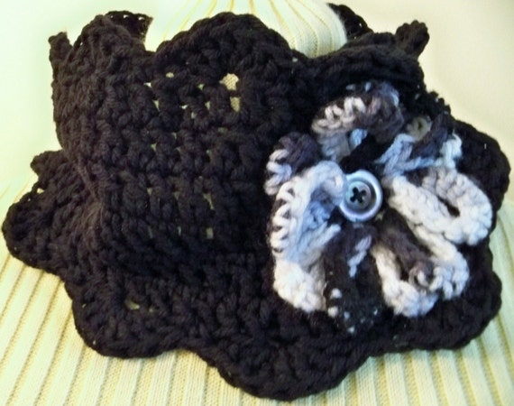 Sale CROCHETED Black SCALLOP Neck Warmer with FLOWER Detail