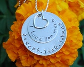 personalized mom necklace - name necklace - heart charm - i love you more