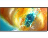 "Aqua Abstract Art. Original Painting. Large 36"". Title ""Luna"" by Renae Schoeffel"