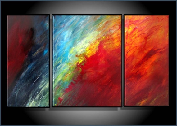 MODERN ABSTRACT ART. ORIGINAL PAINTING. TRIPTYCH, 24 X 42 INCH LARGE PAINTING, FRAMED CANVAS, READY TO HANG, TITLE MASTERMIND, by RenaeSchoeffelArt on etsy